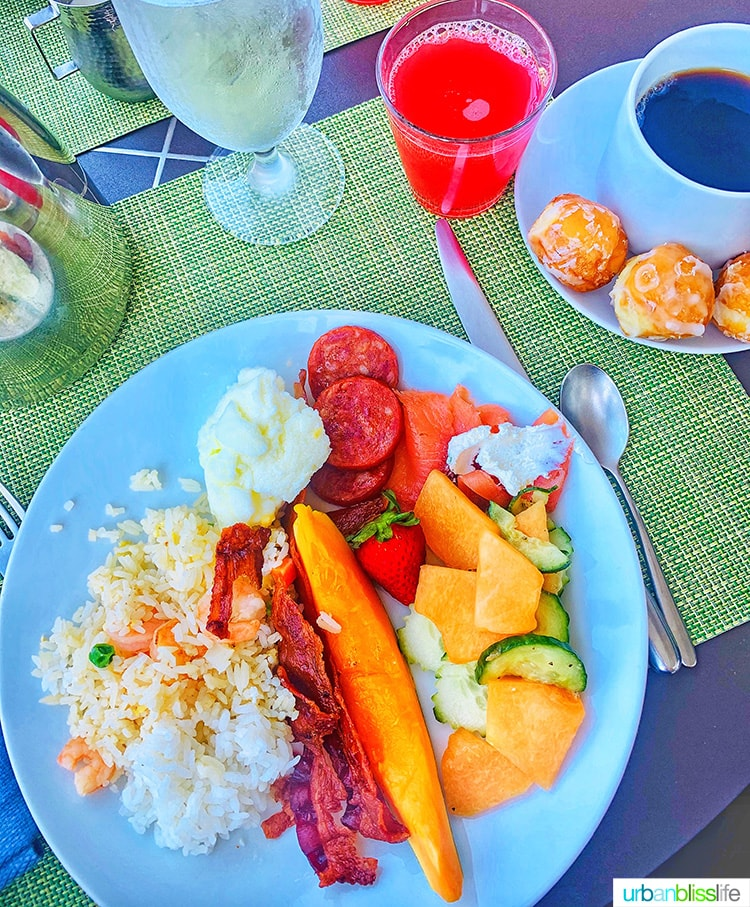 breakfast buffet plate at Fairmont Kea Lani Resort Maui