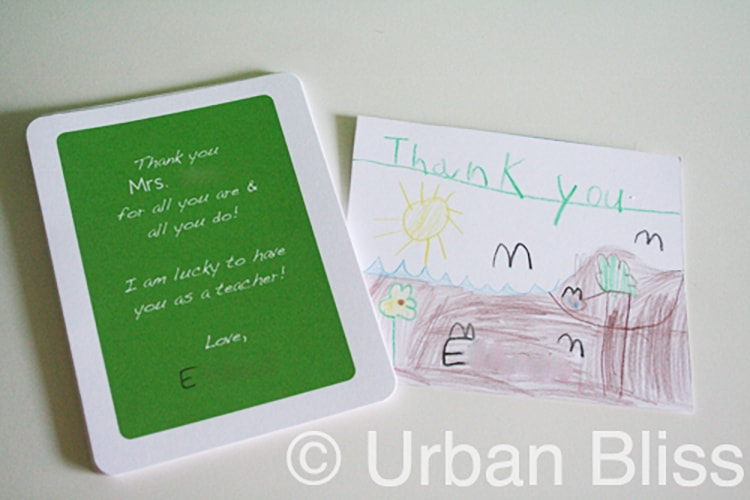 backside and drawing with Teacher Appreciation Printable Flash Cards