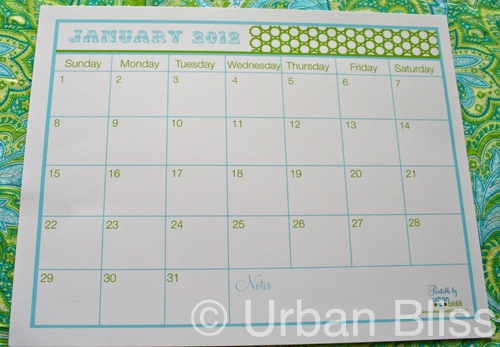 {12 Days of Printable Giveaways} Day 12: January 2012 Calendar