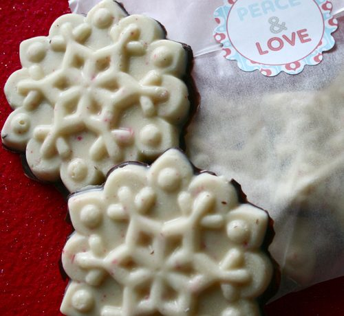 white chocolate peppermint bark and gift bag