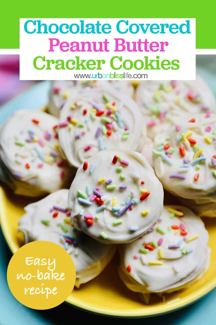 Ritz Cracker Cookies recipe with text for pinterest