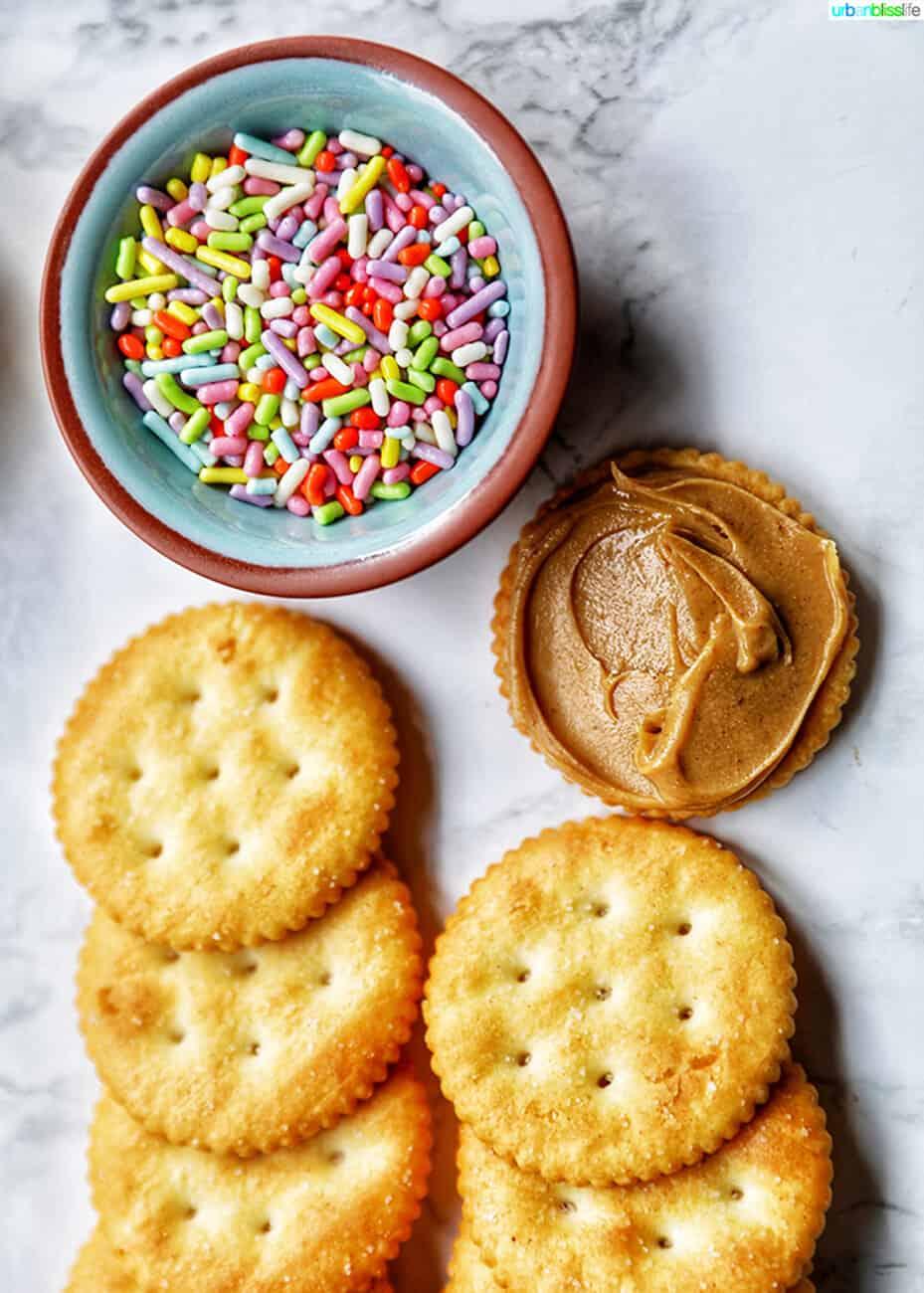 ingredients for Ritz cracker cookies