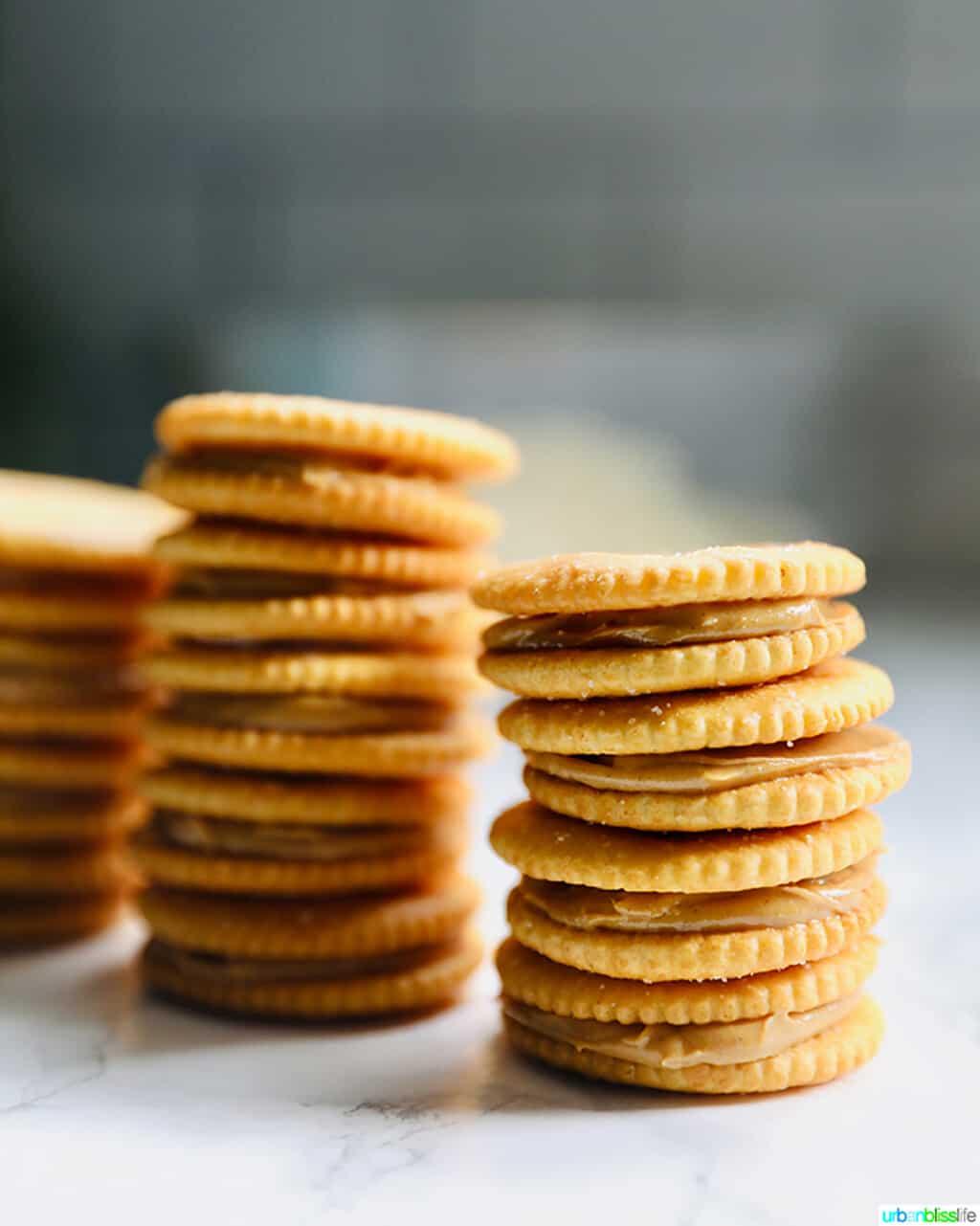 stacks of Ritz cracker cookies