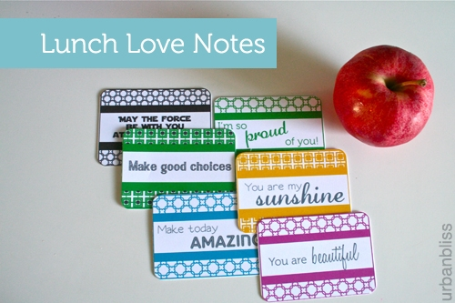 Back-to-school Free Printable: Lunch Love Notes