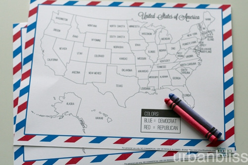Involving Kids In Election Night Free Printable Election - Us map electoral to color