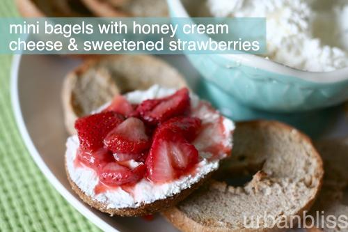 Mini bagels with honey cream cheese & sweetened strawberries