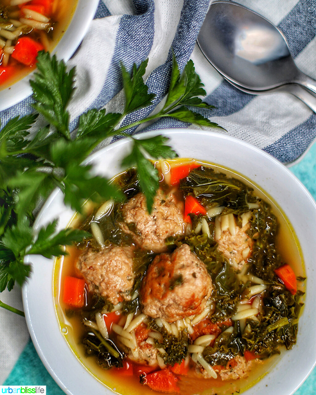 closeup of bowl of Italian Wedding Soup with herbs and a striped napkin