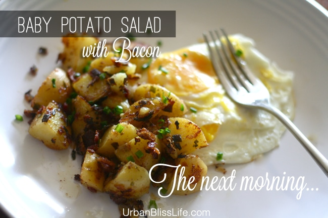 Baby Potato Salad with Bacon as breakfast