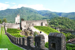 castlegrande one of three castles of Bellinzona Switzerland