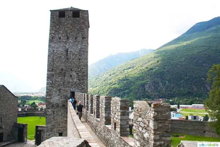 top tower walls of Castles of Bellinzona