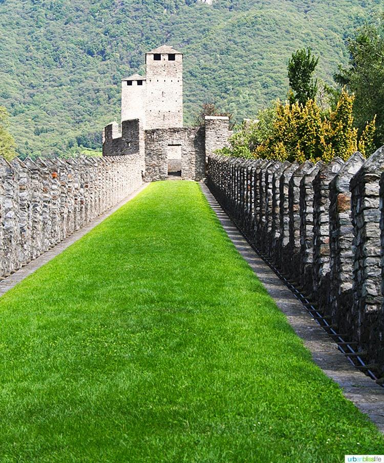castles of bellinzona above tunnel