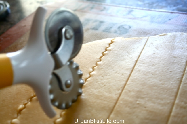 Homemade Cheez-its dough and cutter