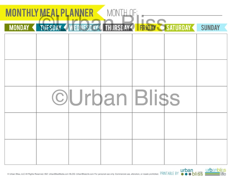 Meal Planner Printable by ©UrbanBliss