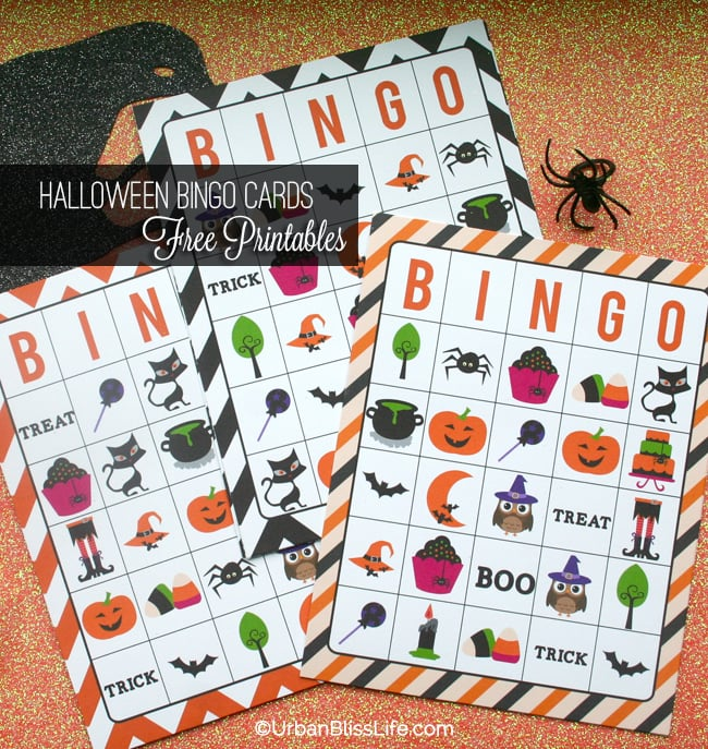 graphic relating to Printable Halloween Bingo called Totally free Printable Halloween Bingo Playing cards - City Bliss Everyday living