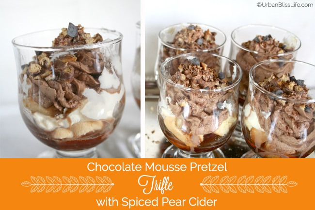Chocolate Mousse Pretzel Trifle with Spiced Pear Cider recipe