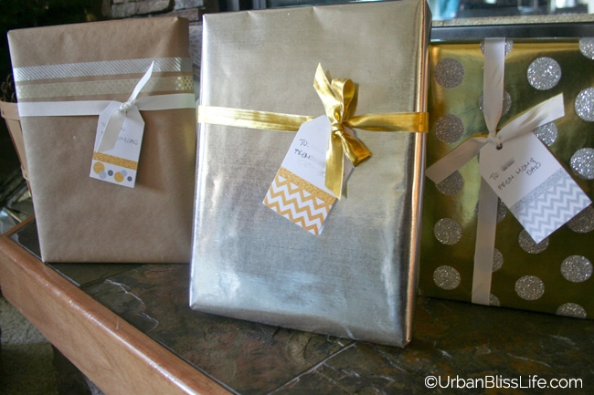 Gold Silver White Christmas - Presents