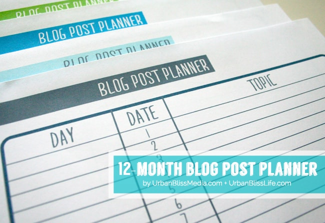 Blog Post Planner 2©UrbanBlissMedia