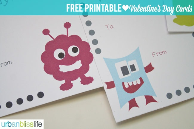 Silly Monster Valentine's Day Card Printables