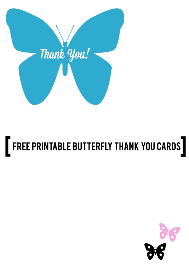 Butterfly Thank You Cards Free Printable