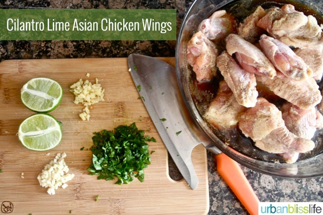Limes, cilantro, and chicken wings