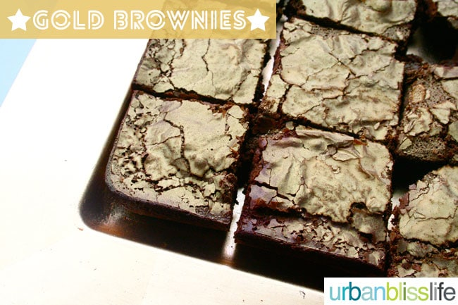 Gold Brownies for oscar themed party - UrbanBlissLIfe.com
