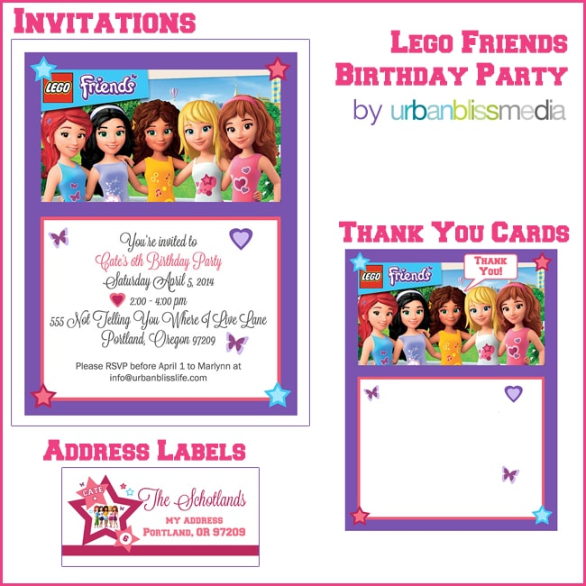 Party Bliss LEGO Friends Birthday Party Urban Bliss Life – Free Birthday Template Invitations