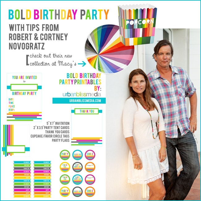 [Party Bliss] Party Planning Tips from Design Couple Novogratz PLUS Bold Rainbow Birthday Party Printables