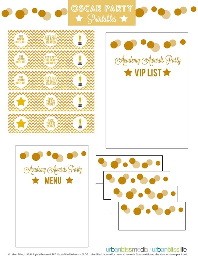 Oscar Party Printables Set by UrbanBlissMedia
