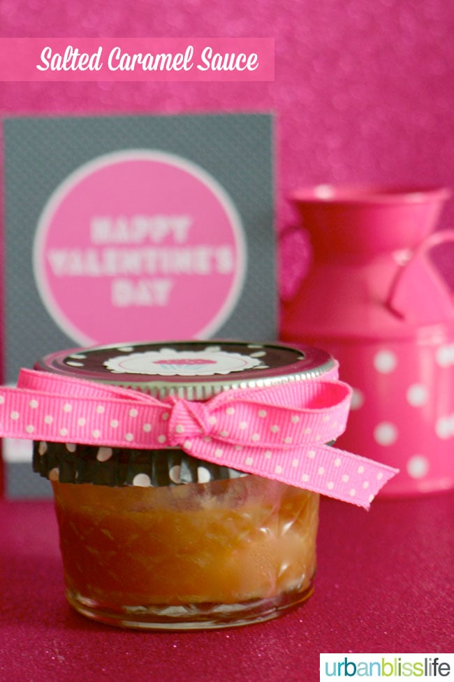 Salted Caramel Sauce in jar on UrbanBlissLife.com