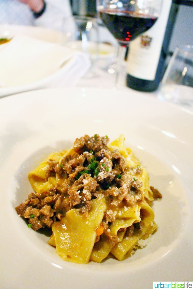 Pappardelle pasta at Mucca Osteria restaurant in Portland, Oregon