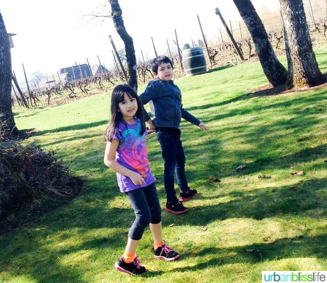 Kids at Cooper Mountain Vineyards