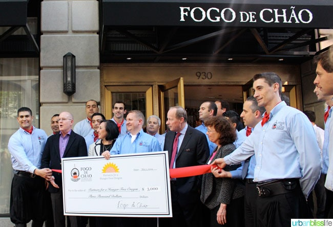 Fogo de Chao Portland Oregon restaurant check to Partners for a Hunger-Free Oregon