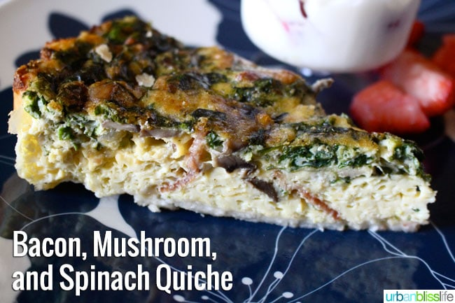 Bacon Mushroom Spinach Quiche Recipe