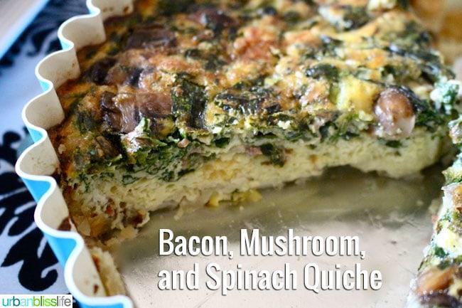 [Food Bliss] Bacon, Mushroom, Spinach Quiche Recipe