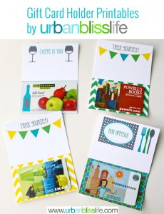 Gift Card Holder Printables by Urban Bliss Media