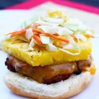 teriyaki turkey burger with asian pineapple slaw
