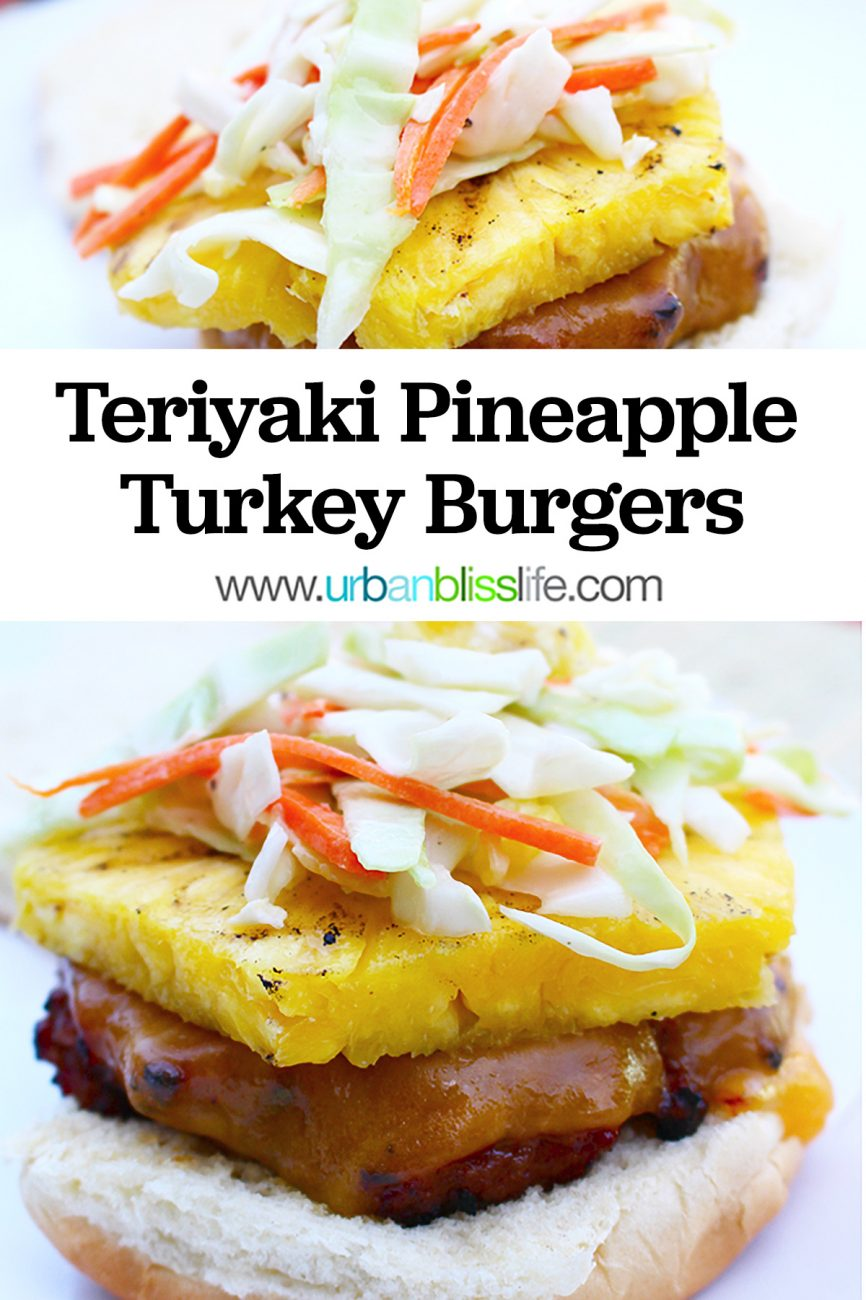 main graphic for teriyaki turkey burger with asian pineapple slaw
