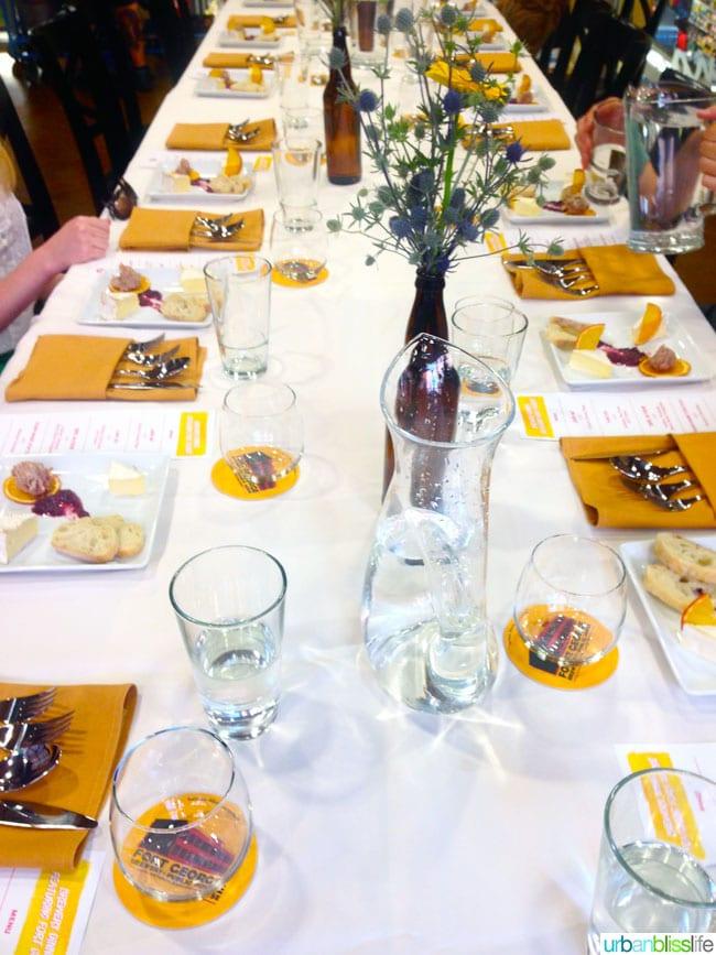WFM Beer Pairings Dinner Portland, Oregon table setting