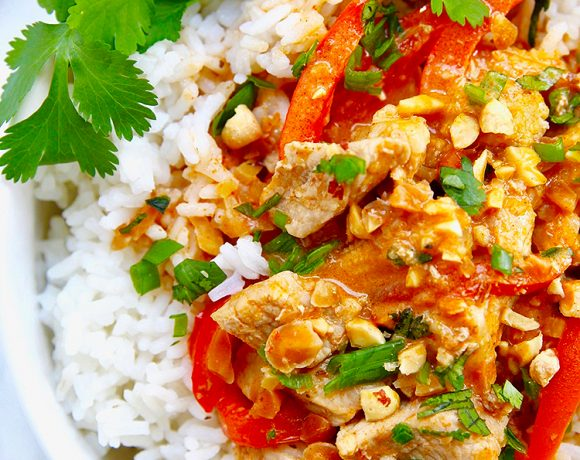 close up of thai peanut curry recipe