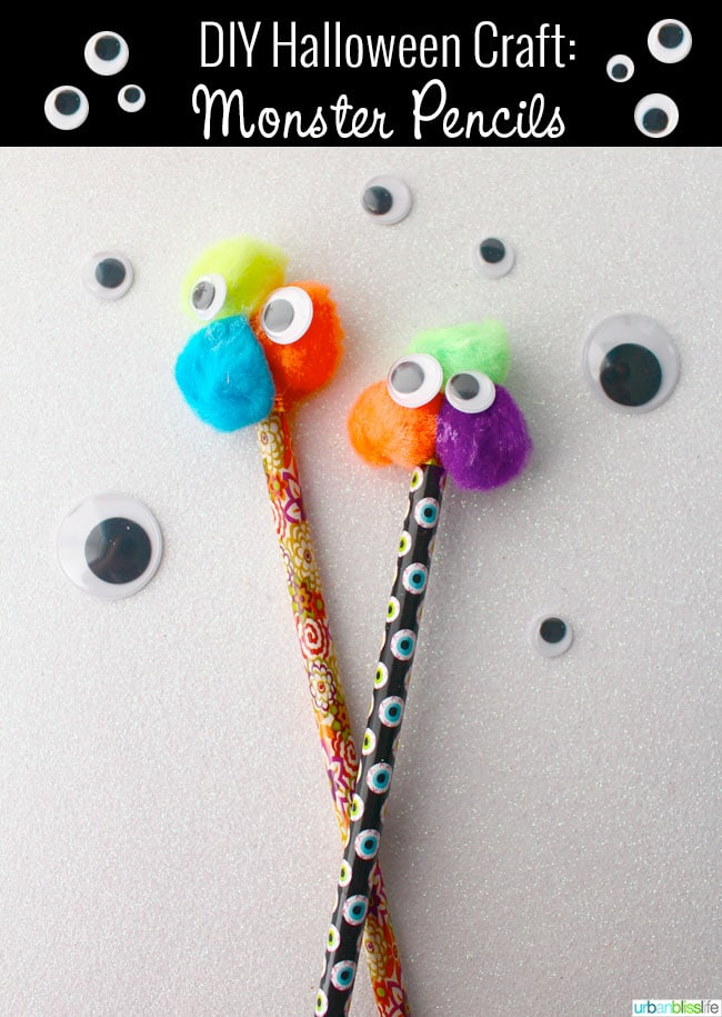 DIY Halloween Crafts Googly Eye Monster Pencils