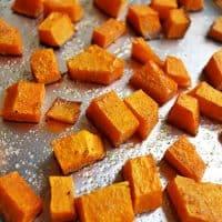 butternut squash cubes roasting pan