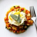 Butternut Squash Hash topped with sage and egg