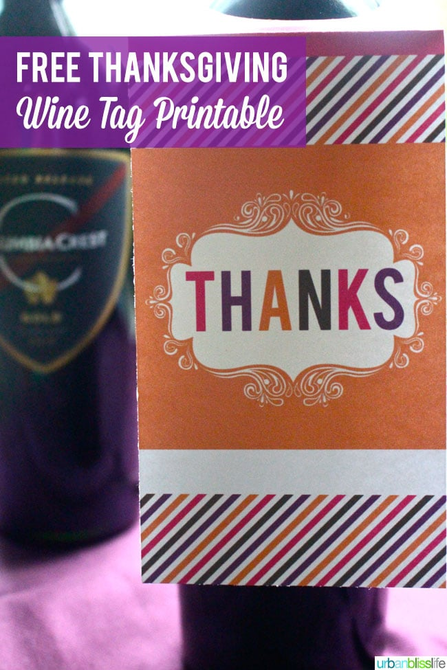 Free Thanksgiving printables | Free Wine Tag Printables