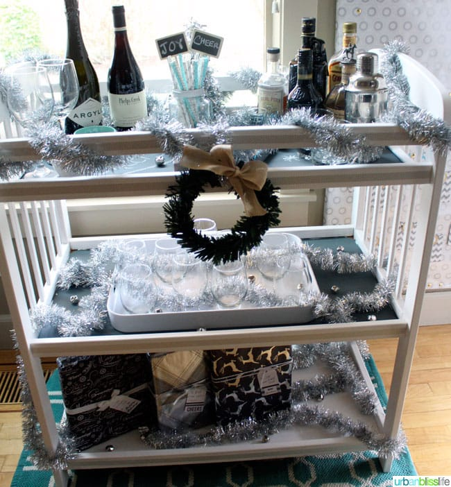 DIY Chalkboard Bar Cart | UrbanBlissLife.com