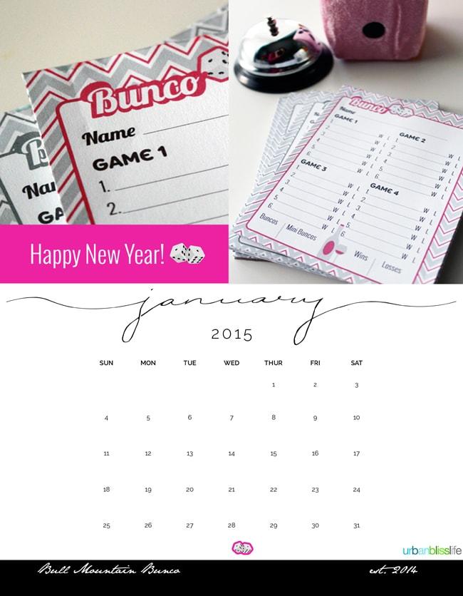 2015 Bunco Calendar ©UrbanBliss