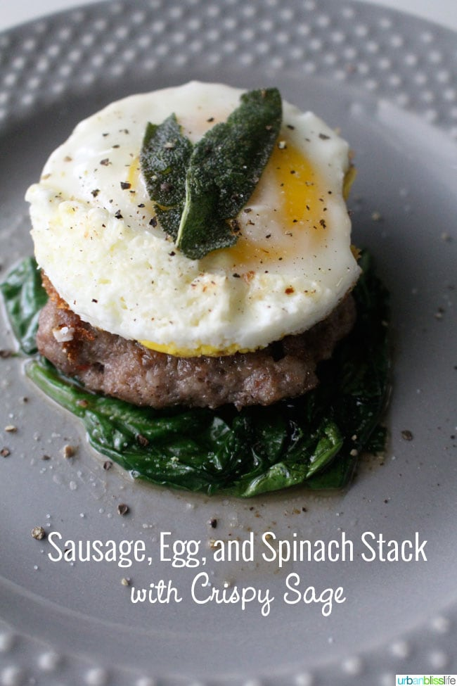 Gluten-Free Breakfast Sandwich with Sausage Egg Spinach