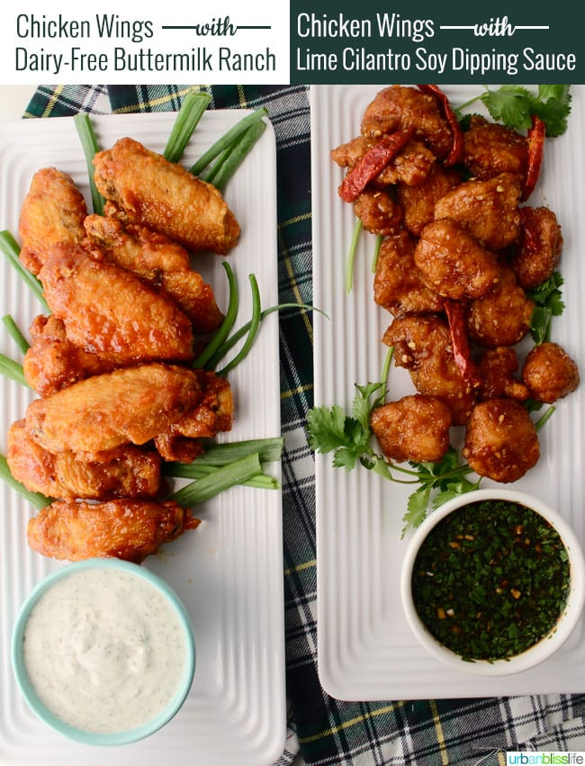 chicken wing dipping sauces: dairy-free buttermilk ranch and lime cilantro soy