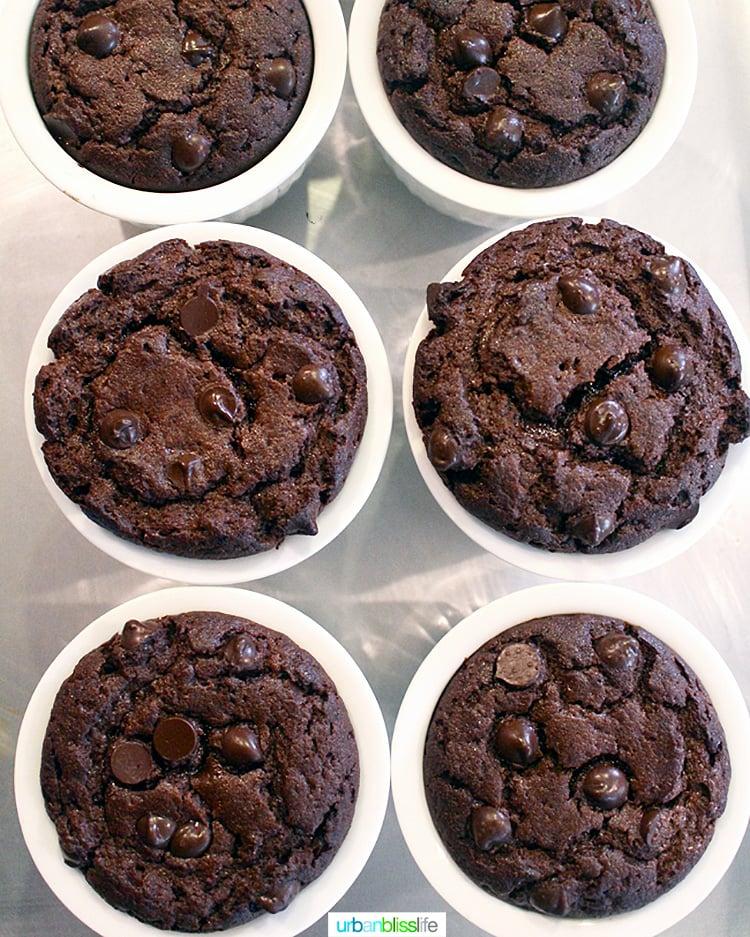 set of six Chocolate chip espresso gluten free mug cakes