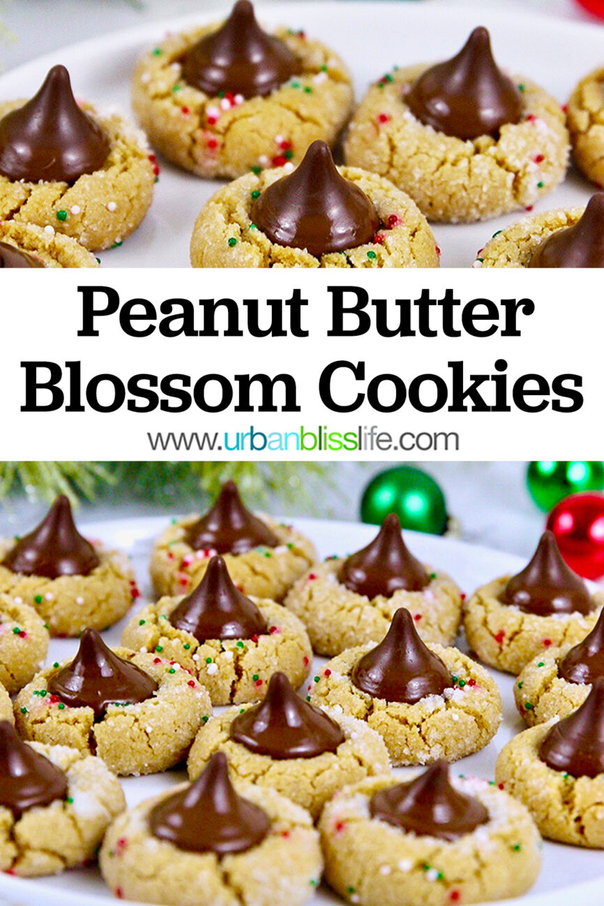 Peanut Butter Blossom Cookies with title text