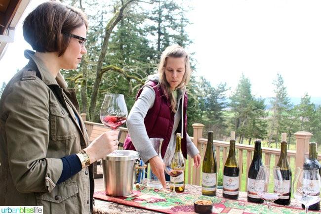 people setting up wine tasting